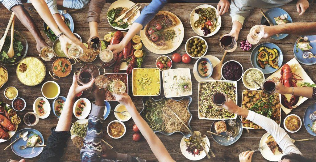 Friends enjoying their food