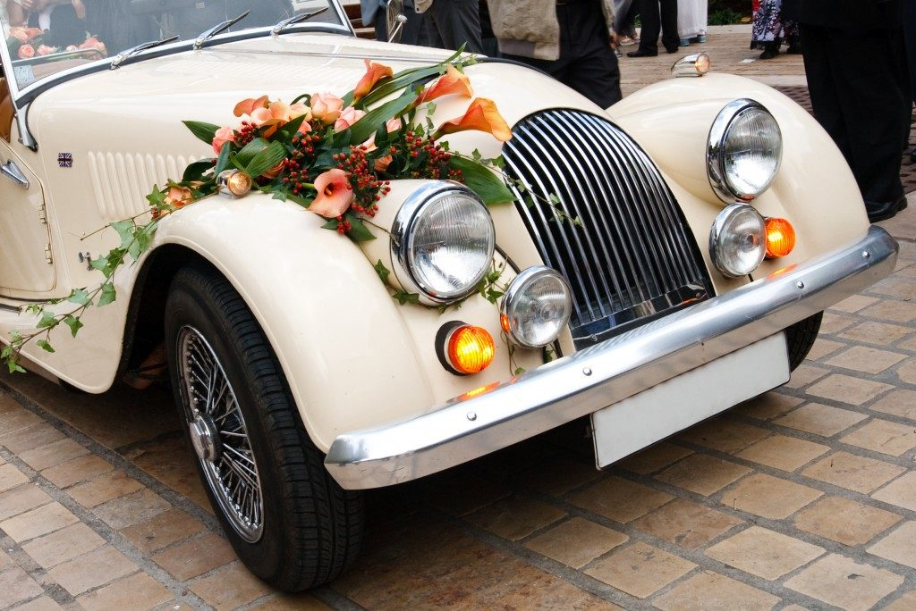 Vintage car decorated with flowers