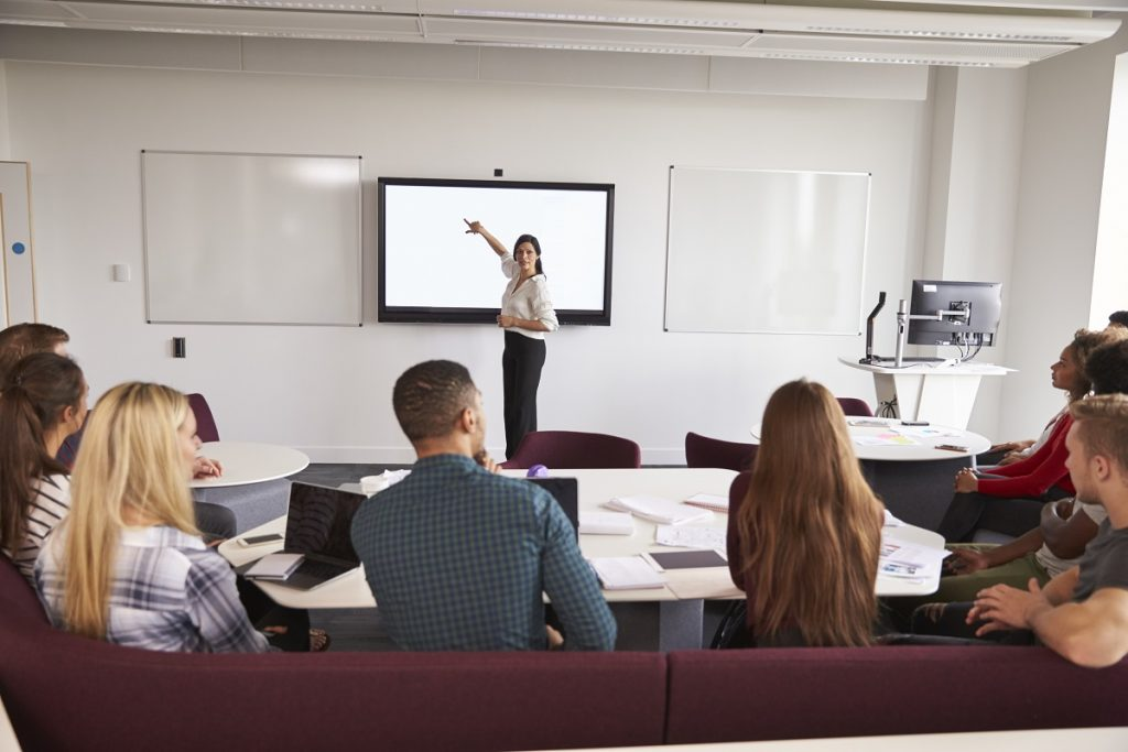 Woman having a talk in a conference room