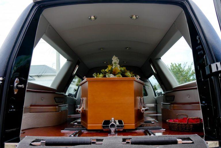a casket in a car