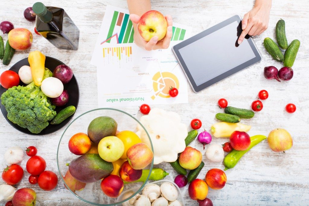 healthy food and business documents