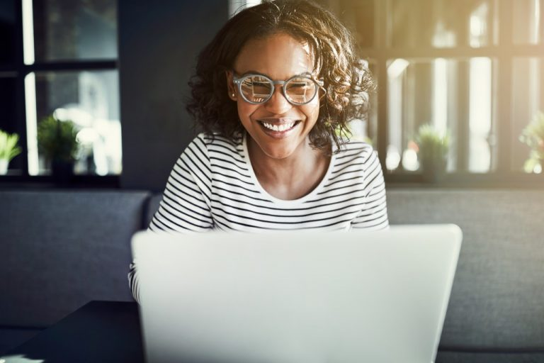 Woman working in a coworking space