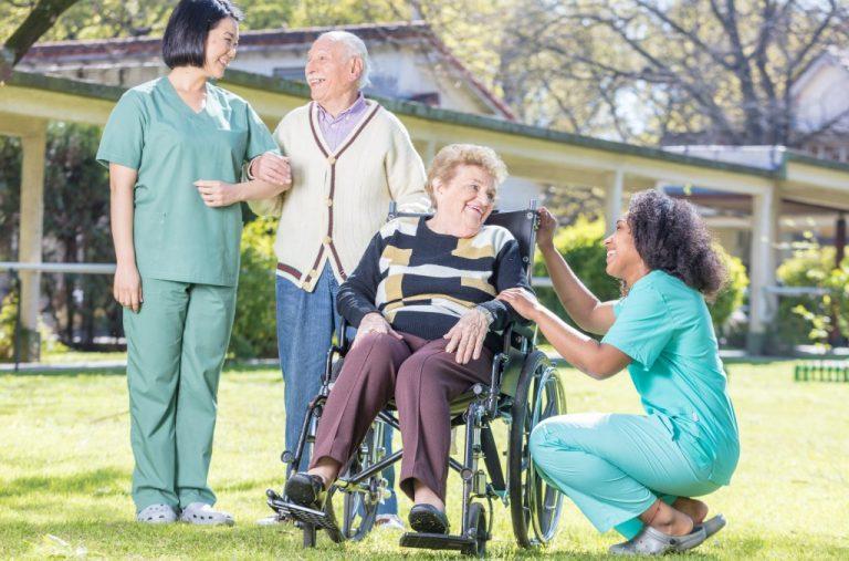 senior patients in a hospital garden