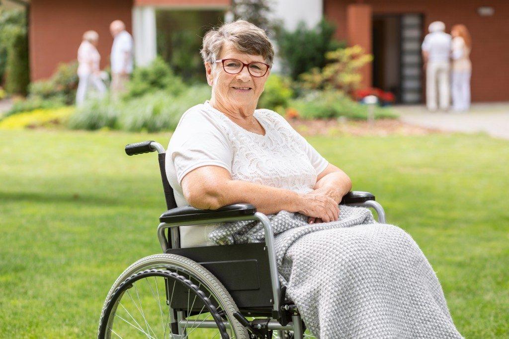 happy woman in a garden