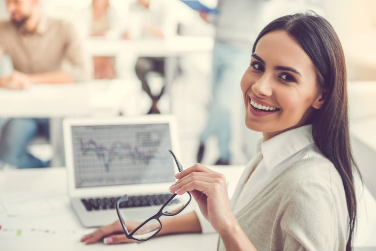 Female employee smiling