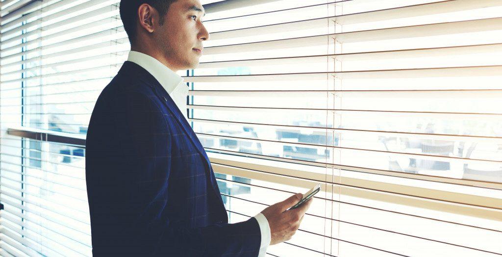 person near window
