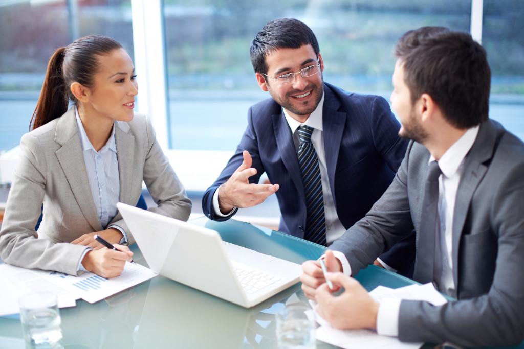 employees having a conversation